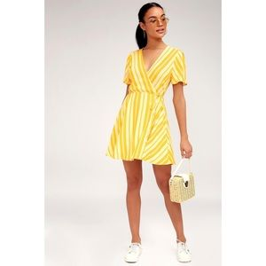 Lulu's Sun Times Yellow Striped Wrap Dress
